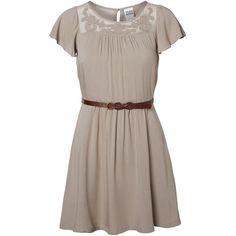Vero Moda Short Sleeved Short Dress (520 HNL) ❤ liked on Polyvore featuring dresses, moon rock, short sleeve dress, short sleeve mini dress, brown dress, keyhole dress and vero moda dresses