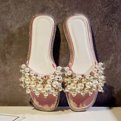 2017 New Brand Shoes Solid Peep Toe Causal Women Slippers Pearl Beading Sweet Cute Sweet Flats Slip on Superstar Sandals 8-1