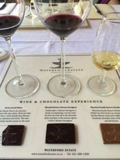 Six Stellenbosch wineries to visit - wine-chocolate tasting at Waterford Estate. Food Places, Wineries, Sober, Wine Tasting, Chocolates, Red Wine, South Africa, Alcoholic Drinks, Merry