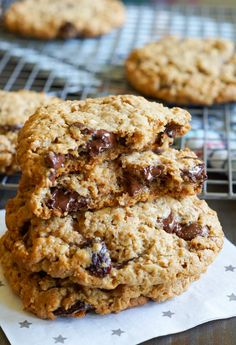chocolate cherry almond butter breakfast cookies ... made with whole wheat and whole grains | @bakeat350