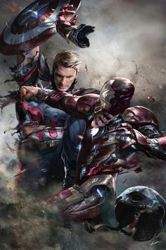 CIVIL WAR!  …captain america vs iron man.  i am now allowed to show also the first version of my interpretation of their clash - showing robert downey jr without his helmet, too.  while working on this the movie release was still far away and so i was...