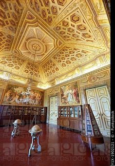 The Library  room of the Queen Mary Caroline , Royal Palace of Caserta , Italy