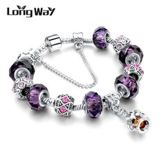 New Fashion Silver Plated Charm Bracelet For Women Royal Crown Bracelet Purple Crystal Beads Diy Jewelry SBR150299 $6.81   => Save up to 60% and Free Shipping => Order Now! #fashion #woman #shop #diy  http://www.jewelrycreations.net/product/longway-2016-new-fashion-silver-plated-charm-bracelet-for-women-royal-crown-bracelet-purple-crystal-beads-diy-jewelry-sbr150299/