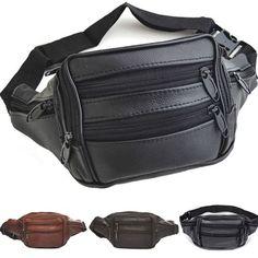 Outdoor Men Women 100% Cowhide Waist Bag Phone Pocket Zipper Layered Leather Bag #Handmade #FannyWaistPack