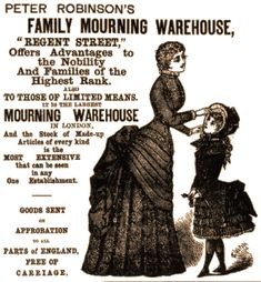 Mourning advertisement. The bustles are screaming 1880s, but don't trust me on that.