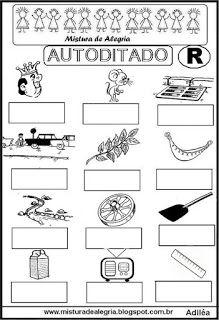 Autoditado para alfabetização com a letra R Portuguese Lessons, Professor, Alphabet, Homeschool, Classroom, Education, Speech Activities, Letter R Activities, Class Activities