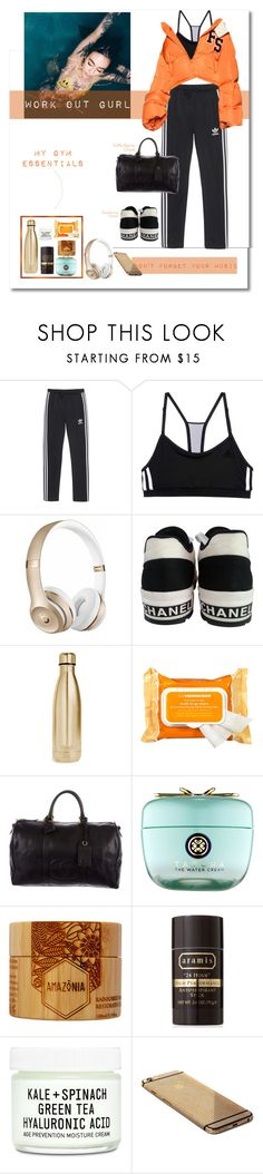 """""""Work Out Gurl"""" by bananmontan ❤ liked on Polyvore featuring adidas Originals, adidas, Beats by Dr. Dre, Chanel, S'well, Ole Henriksen, Tatcha, Amazonia, Aramis and Youth To The People"""