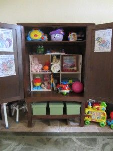 Organize the play area with this repurposed Media Cabinet or Entertainment Center
