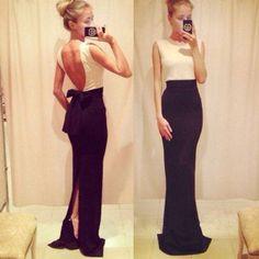 Dress maxi black and white