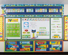 Everyone's favorite cat is now at Teacher Created Resources. The bulletin boards, borders, and accents pieces bring Pete the Cat books to life. You& students will love how Groooovy your classroom looks with Pete around. Summer Bulletin Boards, Bulletin Board Borders, Preschool Bulletin Boards, Homeschool Preschool Curriculum, Preschool Learning, Preschool Activities, Kindergarten Classroom Decor, Classroom Themes, Future Classroom