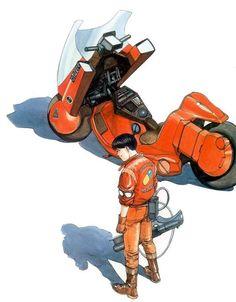 Kaneda y su moto. Akira. Primeros tebeos japoneses que leyó servidor. Costaban una pasta.