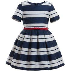 Navy Blue & Ivory 'Emy' Stripe Dress, Tommy Hilfiger, Girl