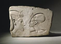 The Wilbour Plaque, ca. 1352–1336 B.C., depicts Akhenaten and Nefertiti late in their reign. (Wikimedia Commons)