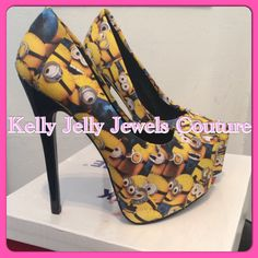 Minion High Heels Size UK 3-8 US 5-10 au 5-10 eu 36-41- Wedding unique minions by KellyJellyJewelsKJJC on Etsy https://www.etsy.com/listing/239049189/minion-high-heels-size-uk-3-8-us-5-10-au
