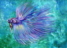 Violet Betta Fish Art Print of Acrylic Painting by ArtbyIvy, $25.00