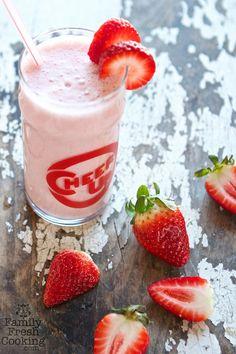 Strawberry-Maple Kefir Shake   Recipe on FamilyFreshCooking.com