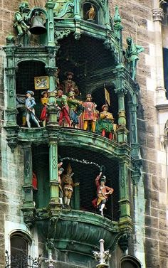 Glockenspiel clock / The Rathaus-Glockenspiel of Munich is a tourist attraction in Marienplatz, the heart of Munich. Part of the second construction phase of the New Town Hall, it dates from Visit Germany, Munich Germany, Bavaria Germany, Germany Travel, Cities In Germany, Oh The Places You'll Go, Places To Travel, Places To Visit, European Vacation