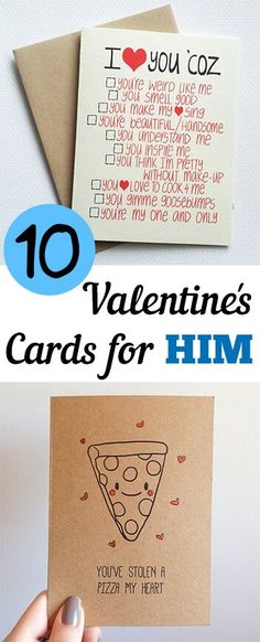 10 Valentines Day Cards for Him. Valentines, Valentines day ideas, Valentines gift, DIY, holiday, holiday décor, holiday gifts