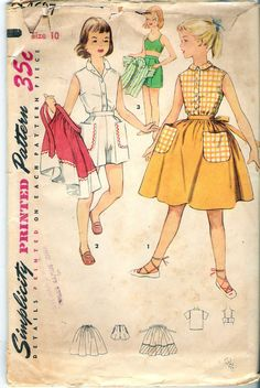 Vintage 1954 Simplicity 4687 Girl's Blouse Shorts by Recycledelic1