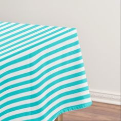 #stripes - #Modern White and Turquoise Stripes Pattern Tablecloth