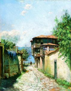 Peysage by Hoca Ali Riza (Turkish, Beautiful Paintings Of Nature, Nature Paintings, House Landscape, Urban Landscape, Street Painting, Cottage Art, Pics Art, Painter Artist, Turkish Art