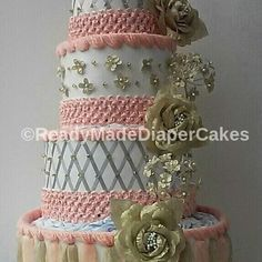 Peach , Silver and Gold 4 Tier Elegant Beaded Baby Shower Diaper Cake Centerpiece Gift