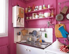 Pin for Later: Bachelorette Pad Inspiration For the Chicest Single Ladies  C'mon, we know you've always wanted to paint your kitchen pink.  Source: Angela Moore for Domino