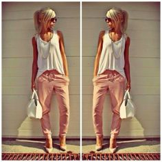 Oh how I love Pinterest... PINK HAREM PANTS .  Too Cute