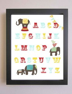 Elephant Nursery  Art Print, Children Decor, Circus Elephant Wall Art, Kids Wall Art, Elephant Decor, Baby Art, Alphabet Print 8 x 10,Letter. $17.00, via Etsy.