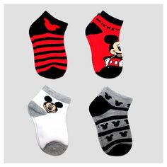 More Mickey love - Toddler Girls' Disney Mickey Mouse 4pk Ankle Socks - Red. These toddler girls' socks feature her favorite friend – Minnie Mouse of course in red, black, grey and white with darling prints.