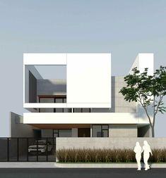 Modern Exterior House Designs, Modern House Facades, Modern Villa Design, Exterior Design, Minimalist Architecture, Modern Architecture House, Concept Architecture, Facade Architecture, Minimal House Design