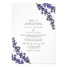 Elegant Lavender Wedding Invitation | Captivating painted lavender illustration on this very modern style wedding invite. #floralinvite #weddinginvitation #lavenderwedding