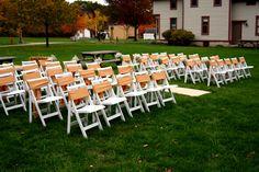 vintage wedding, barn wedding, white wedding chairs, aisle, baby's breath buckets