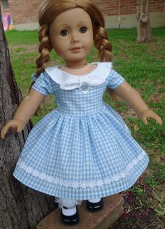 """18"""" Doll Clothes 1950's Style """"Fifties Flair"""" Gingham Dress fits American Girl Molly, Emily"""