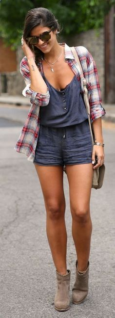 Grey romper w/ a flannel top