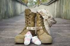 military mother or father cute gender reveal photo or single parent photography. father or mother shoes can be added.