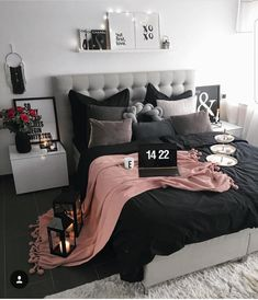 Bedroom inspiration black and grey with pink #bedroom