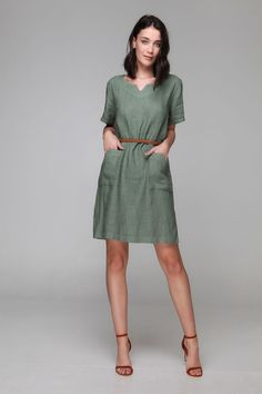 PLS fashion : Φόρεμα λινό σε άλφα γραμμή (8168) Linen Dresses, Shirt Dress, Shirts, Fashion, Moda, Shirtdress, Fashion Styles, Dress Shirts, Fashion Illustrations