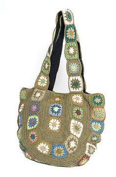 Flower embroidery shoulder bag khaki photo of one of