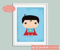 Superhero Wall Art, Nursery Wall Art, Superhero Printable, Printable Nursery, Superhero Nursery, Superhero Print, Superhero, Nursery Prints
