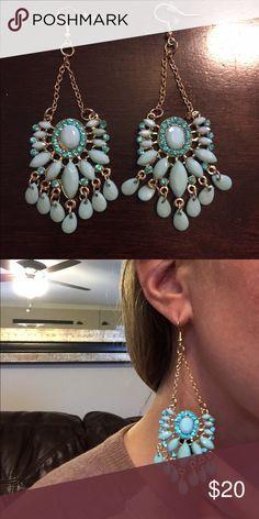 Turquoise chandelier earrings Gorgeous turquoise chandelier earrings. Very lightweight and eye catching! Anthropologie Jewelry Earrings