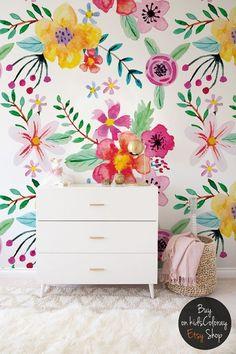 Vibrant floral wallpaper || Colorful flowers wall mural || Cute wallpaper for nursery, kids room || Self adhesive || Removable #67 #nursery #nurserydecor #nurseryart #nurseryideas #interiordesignideas inimal #design #designinspiration #interiordesign #interiordesignideas #babygirl #girlsroom
