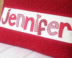 Red Name Pillow Personalized Girl Room Decor Birthday Gift Keepsake Custom Made - Jennifer. $20.00, via Etsy.