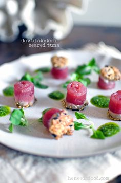 Finger food to impress - sesame crusted seared tuna with wild rocket sauce