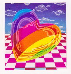 "RARE 2"" Lisa Frank New Rainbow Heart Sticker Mod | eBay"