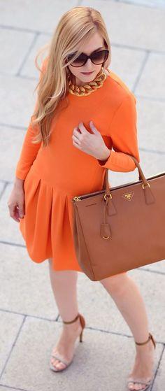 Orange Long Sleeve Pleated Skirt Mini Dress