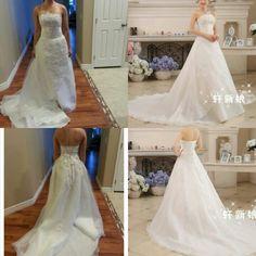 Wish | Vintage Wedding Dress A-Line Bridal Gown Floor-Length Sleeveless Strapless Satin Bridal Dress Vestido De Noiva Size 2-20 WE353