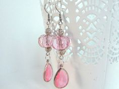 Lightweight Earrings with Pink Transparent Faceted Beads, Nickel Free and Hypoallergenic by PassionInAction