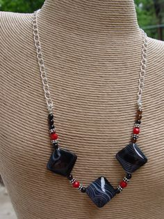 Black Onyx Gemstone  Coral and Chain Necklace Boho by jeanawells, $34.50