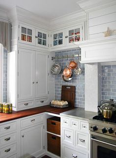 """Love blue/gray subway tile of kitchen featured in BHG supplement """"Better by Design"""" Sept 2007, foto: Laura Moss ~~"""